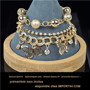 Pretty multirang charms bracelet set with high-shine rhinestones in gold metal 79074