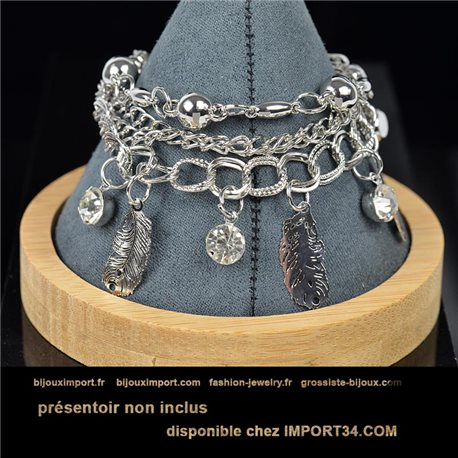 Pretty multirang charms bracelet set with high-gloss rhinestones in silver metal 79079