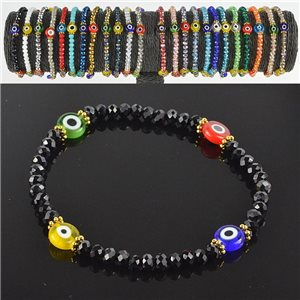 Lucky charm bracelet faceted crystal beads on elastic thread Handmade 79037