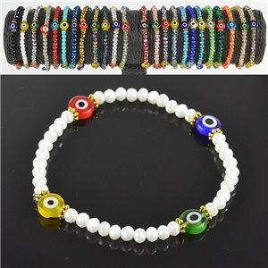 Lucky charm bracelet faceted crystal beads on elastic thread Handmade 79038