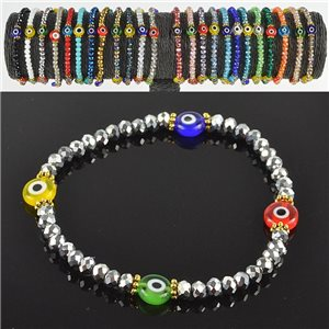 Lucky charm bracelet faceted crystal beads on elastic thread Handmade 79039