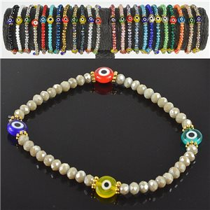 Lucky charm bracelet faceted crystal beads on elastic thread Handmade 79040