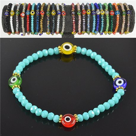 Lucky charm bracelet faceted crystal beads on elastic thread Handmade 79042