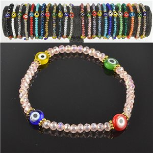 Lucky charm bracelet faceted crystal beads on elastic thread Handmade 79050