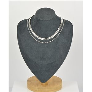 Collier Ras de Cou Double Rangs métal Argenté New Collection 79130