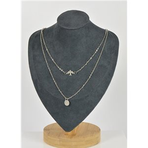 Collier Sautoir Double Rangs métal Argenté New Collection 79136