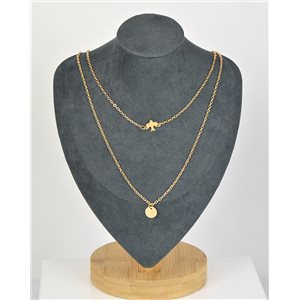Collier Sautoir Double Rangs métal Doré New Collection 79137