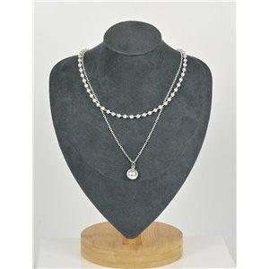 Collier Ras de Cou Double Rangs métal Argenté New Collection 79133