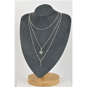 Collier Sautoir Triple Rangs métal Argenté New Collection 79134