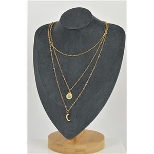 Collier Sautoir Triple Rangs métal Doré New Collection 79135