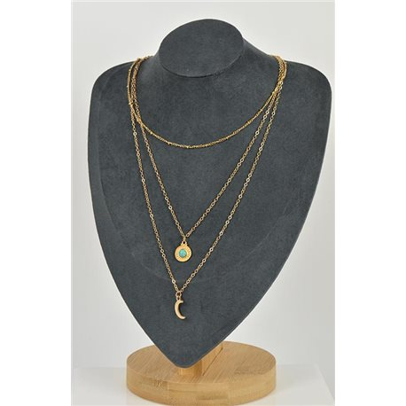Long Necklace Triple Rows in Gold metal New Collection 79135