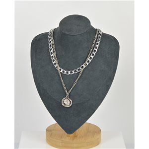 Collier Sautoir Double Rangs métal Argenté New Collection 79147