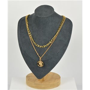 Collier Sautoir Double Rangs métal Doré New Collection 79148