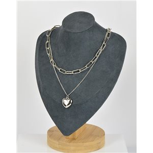 Collier Sautoir Double Rangs métal Argenté New Collection 79149
