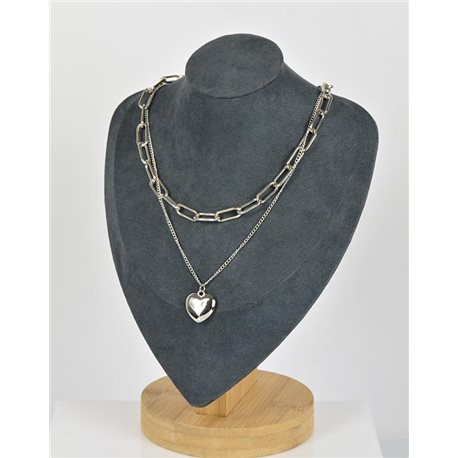 Necklace Long Double Rows Metal Silver New Collection 79149