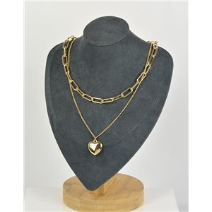 Collier Sautoir Double Rangs métal Doré New Collection 79150