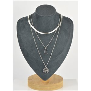 Collier Sautoir Triple Rangs métal Argenté New Collection 79122