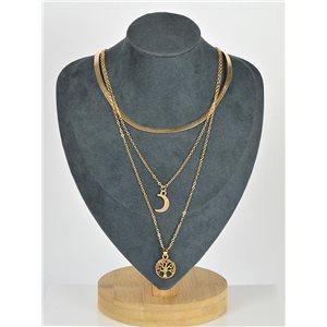 Collier Sautoir Triple Rangs métal Doré New Collection 79123