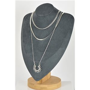 Collier Sautoir Triple Rangs métal Argenté New Collection 79124