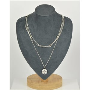 Collier Sautoir Triple Rangs métal Argenté New Collection 79126