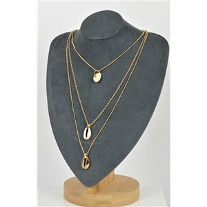 Collier Sautoir Cauri Triple Rangs métal Doré New Collection 79132