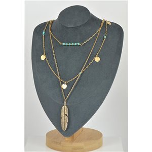 Necklace Long Necklace Triple Rows Gold metal New Collection 79129