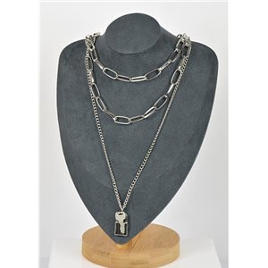 Collier Sautoir Triple Rangs métal Argenté New Collection 79139