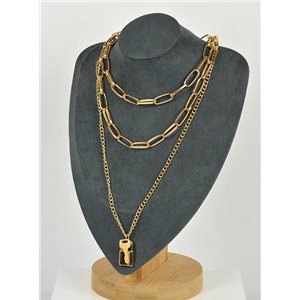 Collier Sautoir Triple Rangs métal Doré New Collection 79140
