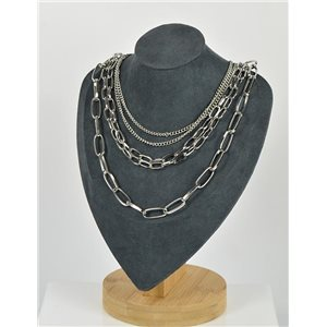Five Rows Long Necklace in Silver metal New Collection 79141
