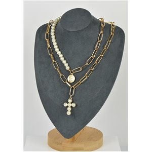 Double Rows Long Necklace in Gold metal New Collection 79151