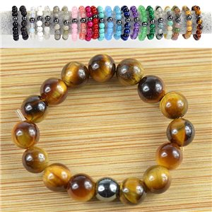 4mm Pearl Rings in Tiger Eye Stone on elastic thread New Collection 79178