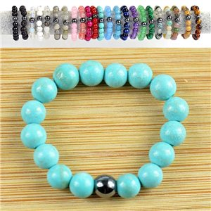 4mm Pearl Rings in Turquoise Howlite Stone on elastic thread New Collection 79167