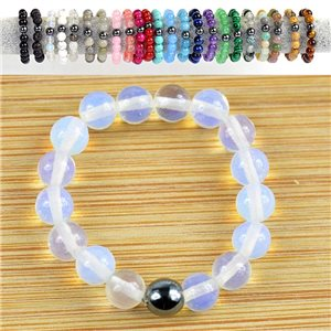 4mm Pearl Rings in Opal Stone on elastic thread New Collection 79158