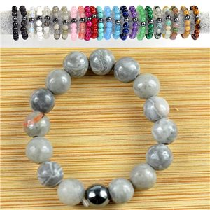 4mm Pearl Rings in Gray Jasper on elastic thread New Collection 79161