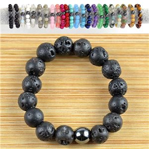 Lava Stone Pearl Rings 4mm on elastic thread New Collection 79157