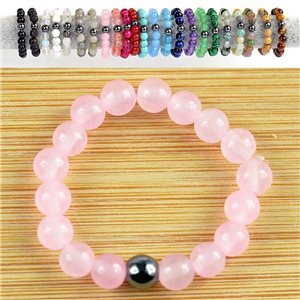 4mm Pearl Rings in Rose Quartz Stone on elastic thread New Collection 79163