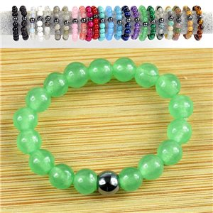 4mm Pearl Rings in Green Aventurine Stone on elastic thread New Collection 79172