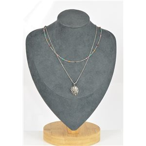 Stainless Steel Double Row Long Necklace L40-45cm New Collection 79209