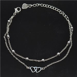 Double Row Stainless Steel Bracelet L17-21cm New Collection 79216