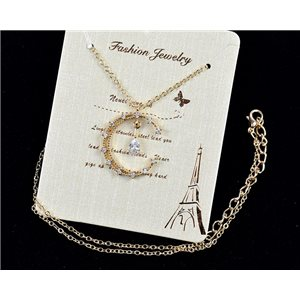 Fine chain necklace Gold 42-48cm - Gold pendant Strass diamond cut 79116