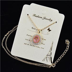 Gold fine chain necklace 42-48cm - Gold Zircon diamond cut pendant 79181