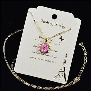 Gold chain necklace 42-48cm - Gold Zircon diamond cut pendant 79186