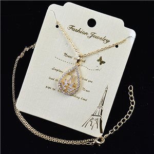 Gold chain necklace 42-48cm - Gold Zircon diamond cut pendant 79197