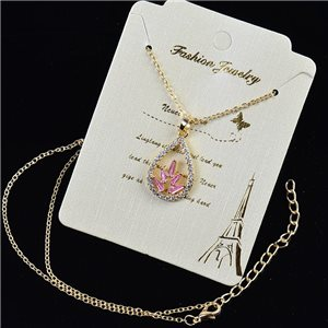 Gold chain necklace 42-48cm - Gold Zircon diamond cut pendant 79198