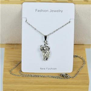 IRIS Rhinestone Pendant Necklace on Thin Steel Chain L40-45cm New Collection 79085