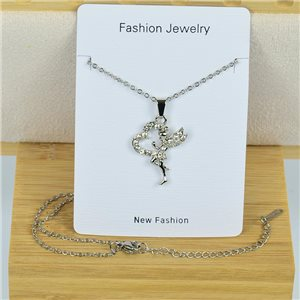 IRIS Rhinestone Pendant Necklace on Thin Steel Chain L40-45cm New Collection 79095