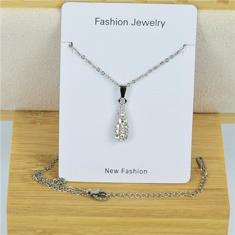 IRIS Rhinestone Pendant Necklace on Thin Steel Chain L40-45cm New Collection 79097