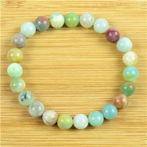 8mm Pearl Bracelet in Moss Agate Stone on elastic thread 79231