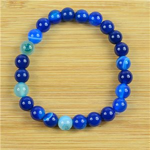 8mm Pearl Bracelet in Blue Agate Stone on elastic thread 79232
