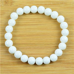8mm Pearl Bracelet in White Agate Stone on elastic thread 79221